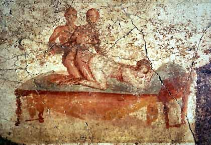 A fresco from the public bath in Pompeii. When did humans first start making pornographic art?