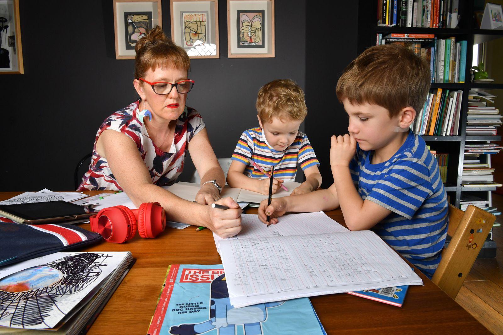 Home schooling during coronavirus pandemic in Australia, Brisbane - 15 Apr 2020