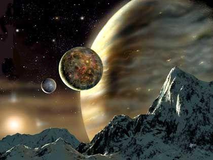 Gasplanet im Orbit um den Stern HD70642 (Simulation): Ähnlichkeiten mit Jupiter und unserer Sonne