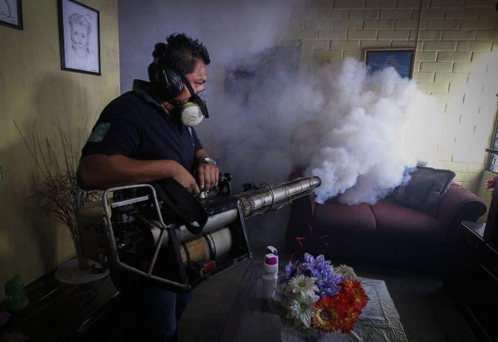 El Salvador: Ein Arbeiter des Gesundheitsministeriums begast eine Privatwohnung, um Moskitos zu bekämpfen