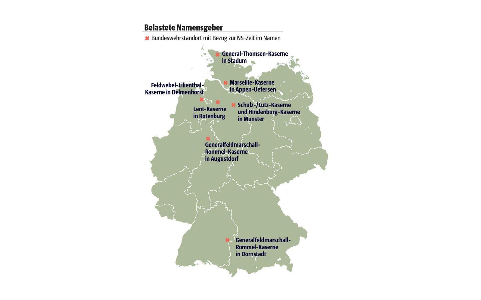 Karte/ Wehrmachtskasernen