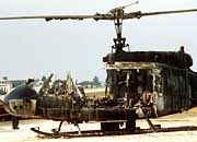 A burned out helicopter the day after the Israeli athletes died during an attempt to free them.