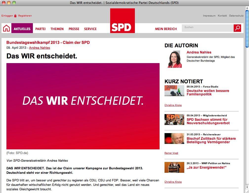 """Screenshot spd.de / Claim """"Das WIR entscheidet"""""""
