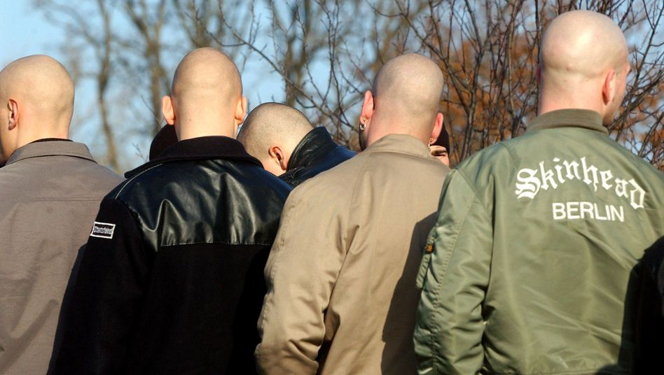 Neo-Nazis at a demonstration in Halbe, eastern Germany.