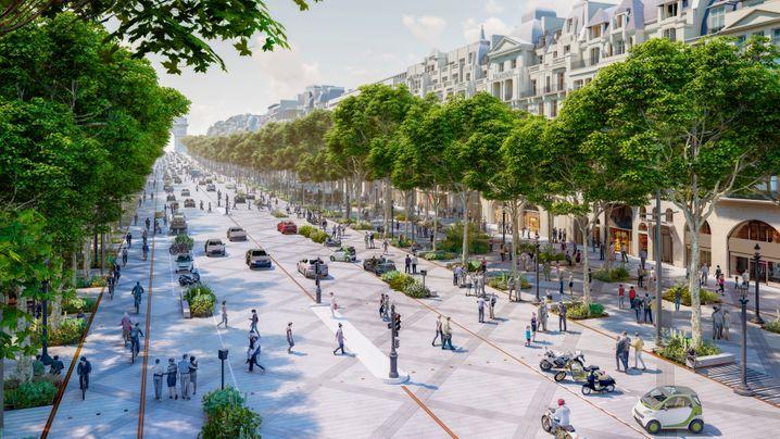 Erholung für Mensch und Klima: Für 225 Millionen Euro will die Pariser Bürgermeisterin Anne Hidalgo die Champs-Élysées in eine grüne Flaniermeile umwandeln lassen