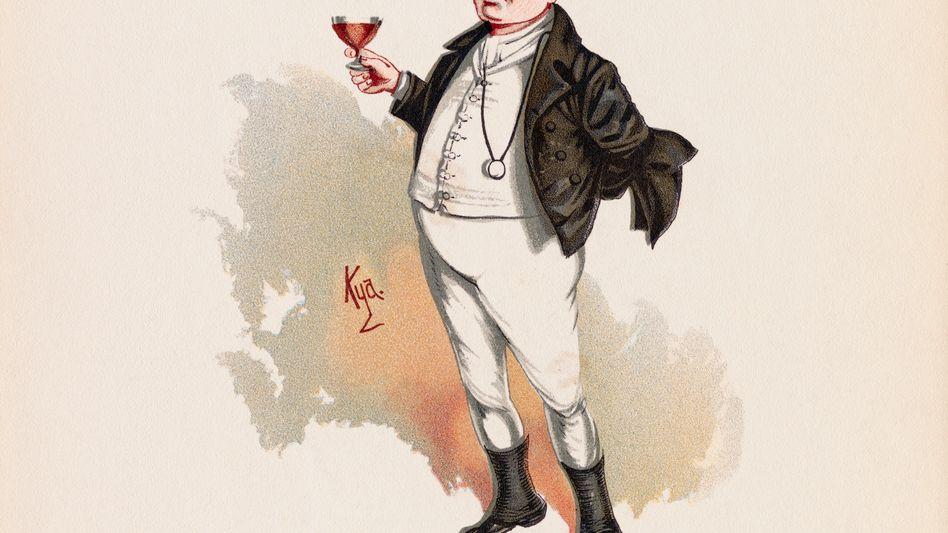Dickens-Romanfigur Mr. Samuel Pickwick erhebt das Glas: Illustration von Kyd, ca. 1880