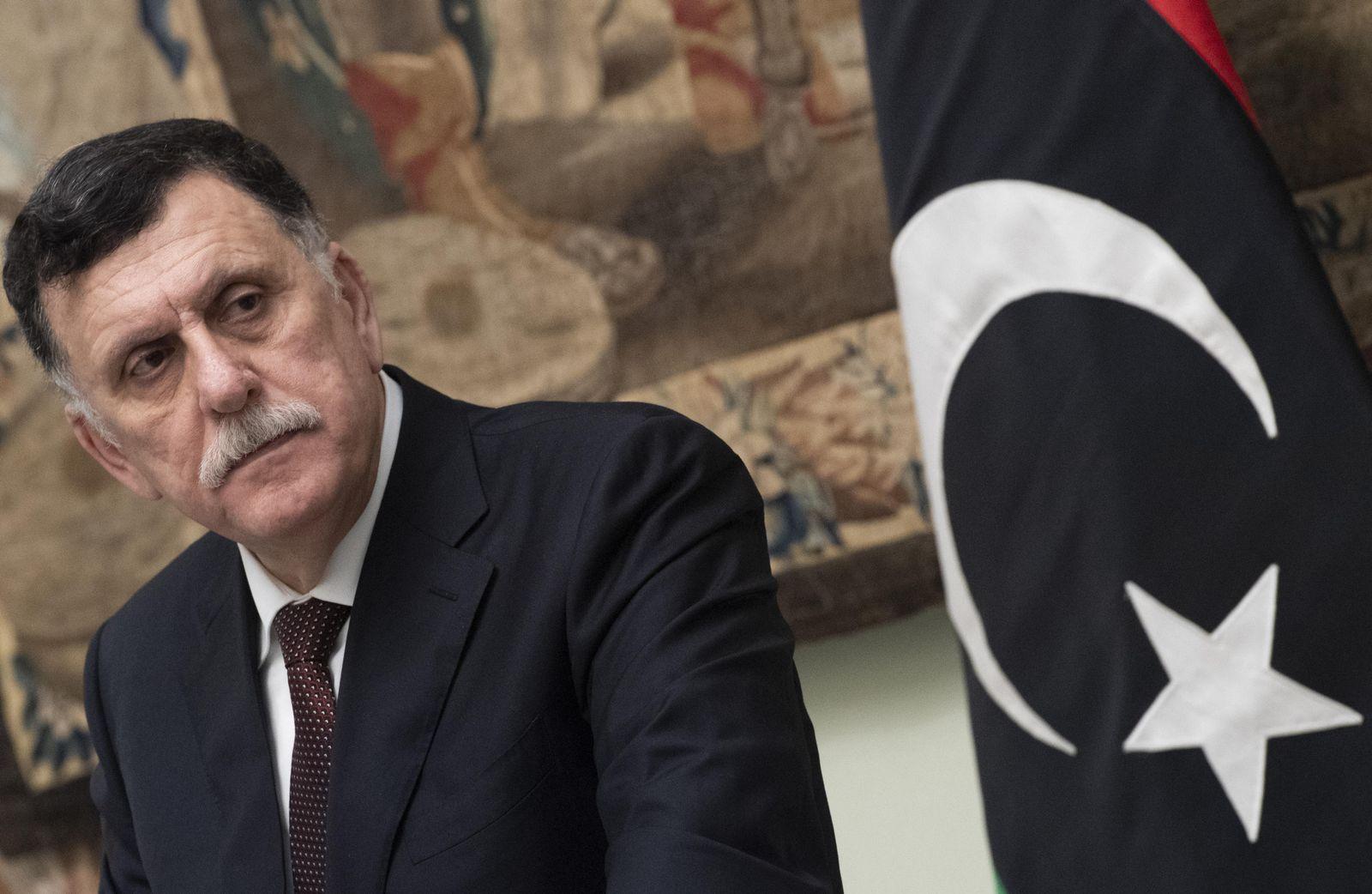 Libya GNA PM al-Sarraj in Rome, Italy - 11 Jan 2020