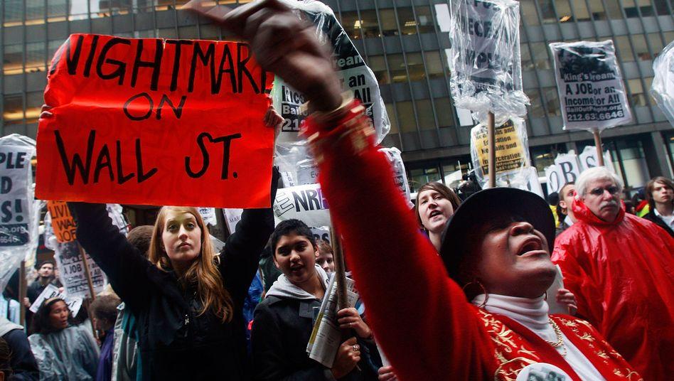 Demonstranten in New York (Archivbild): Der Wall Street droht ihr größter Insider-Skandal