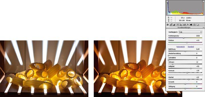 Ein paar kleinere Anpassungen in Adobe Camera Raw verstärken den feurigen Look.