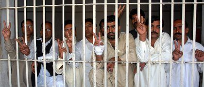Pakistani protesters after being rounded up on Wednsesday.