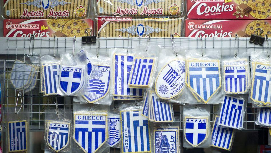 Stolzes Volk: Griechische Flaggen hängen in Athen an einem Kiosk