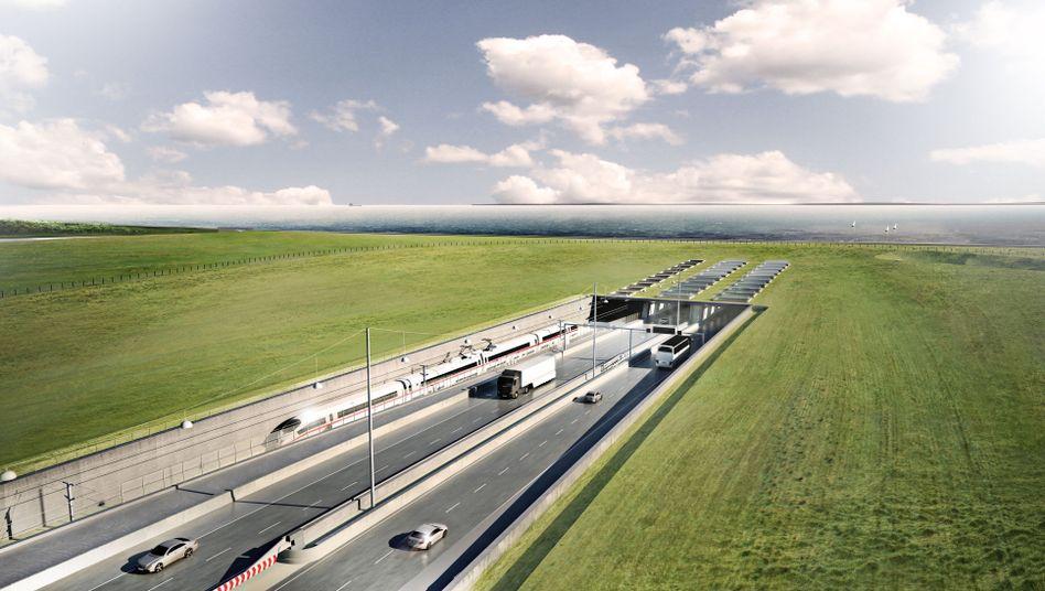 Visualisierung vom geplanten Fehmarnbelt-Tunnel zwischen Deutschland und Dänemark auf dänischer Seite in Rødbyhavn