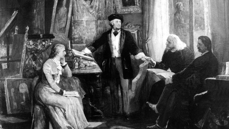 Richard Wagner zwischen seiner Frau Cosima und Franz Liszt