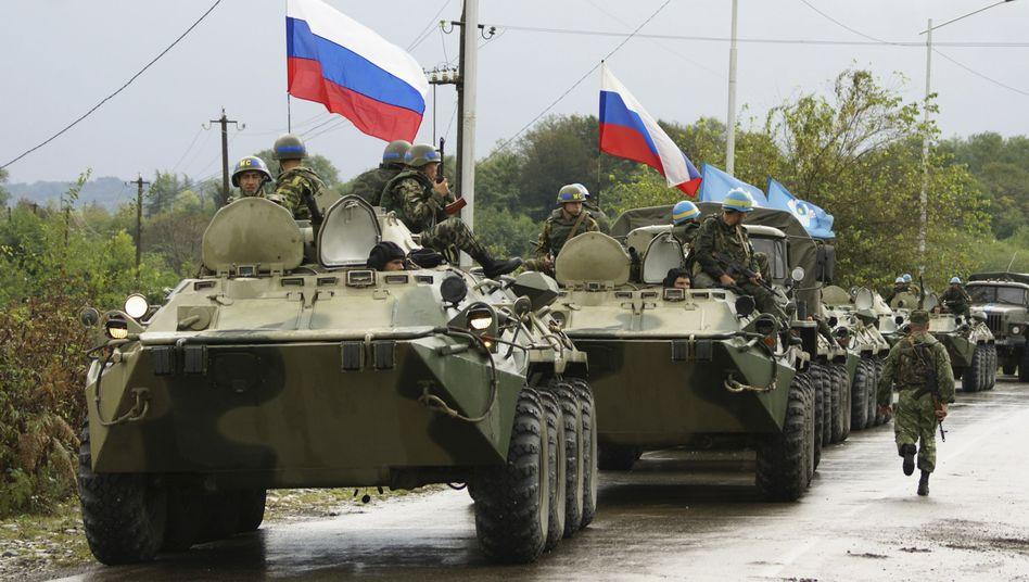 Russische Soldaten in Georgien (beim Rückzug im Oktober 2008): Instabiler Kaukasus