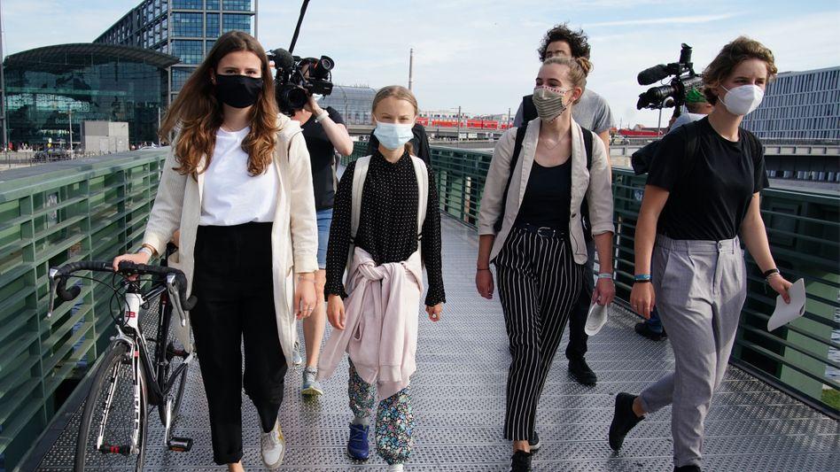 Luisa Neubauer (v.l.), Greta Thunberg, Adélaïde Charlier und Anuna de Wever im August in Berlin