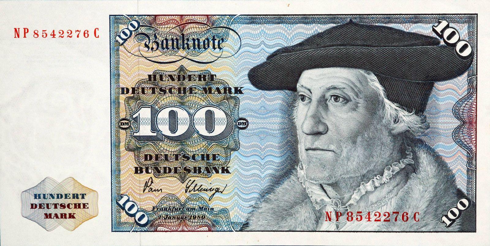 EINMALIGE VERWENDUNG Banknote/ 100 Deutsche Mark/