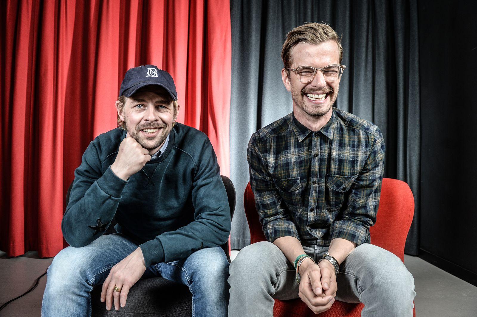Joko und Klaas ( Joachim Winterscheid, Klaas Heufer Umlauf) zu Gast in der Funke Zentralredaktion