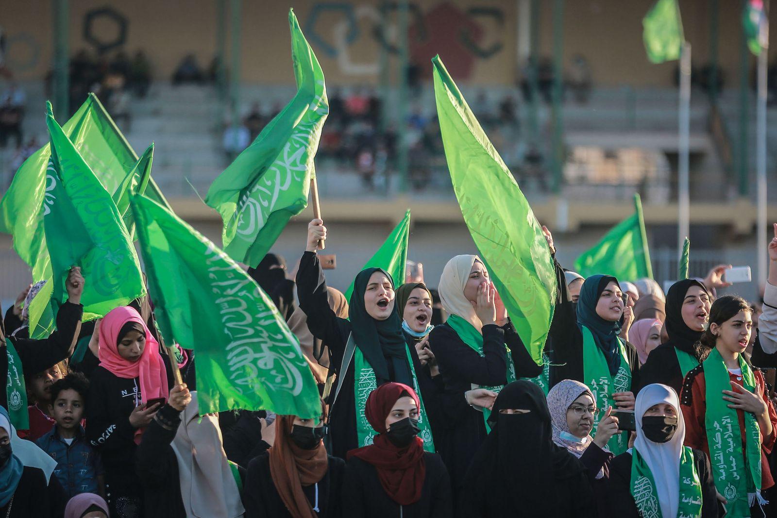 Konflikt in Nahost - Kundgebung der Kassam-Brigaden in Gaza