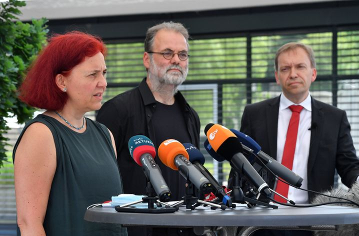Fraktionsvorsitzende Astrid Rothe-Beinlich (Bündnis90/Die Grünen), Steffen Dittes (Die Linke), Matthias Hey (SPD)
