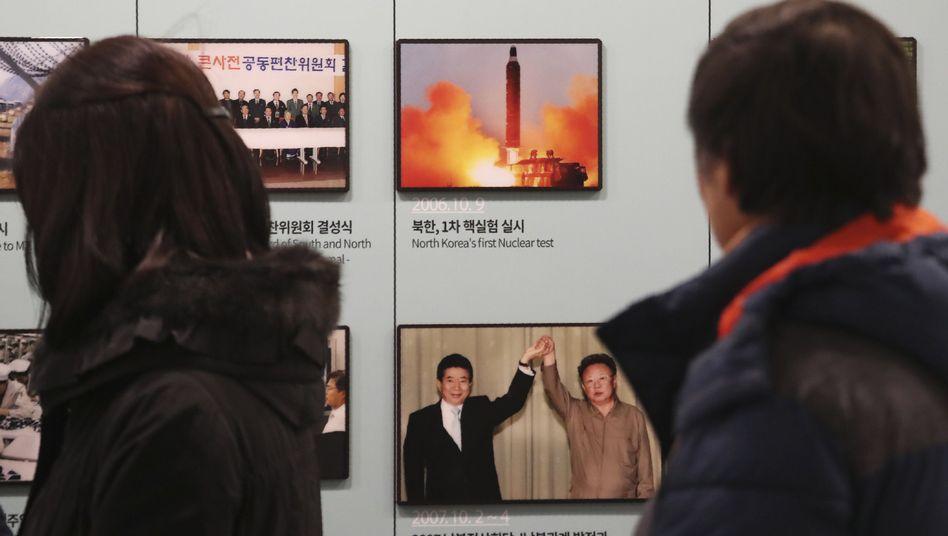 Foto eines nordkoreanischen Raketentests (an der koreanischen Grenze)