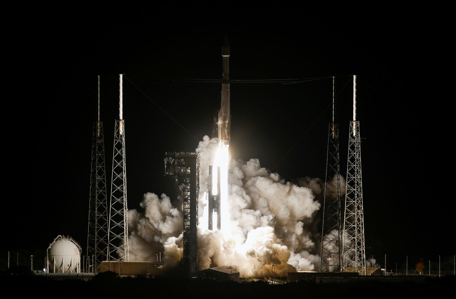 The Solar Orbiter spacecraft, built for NASA and the European Space Agency, lifts off from pad 41 aboard a United Launch Alliance Atlas V rocket at the Cape Canaveral Air Force Station