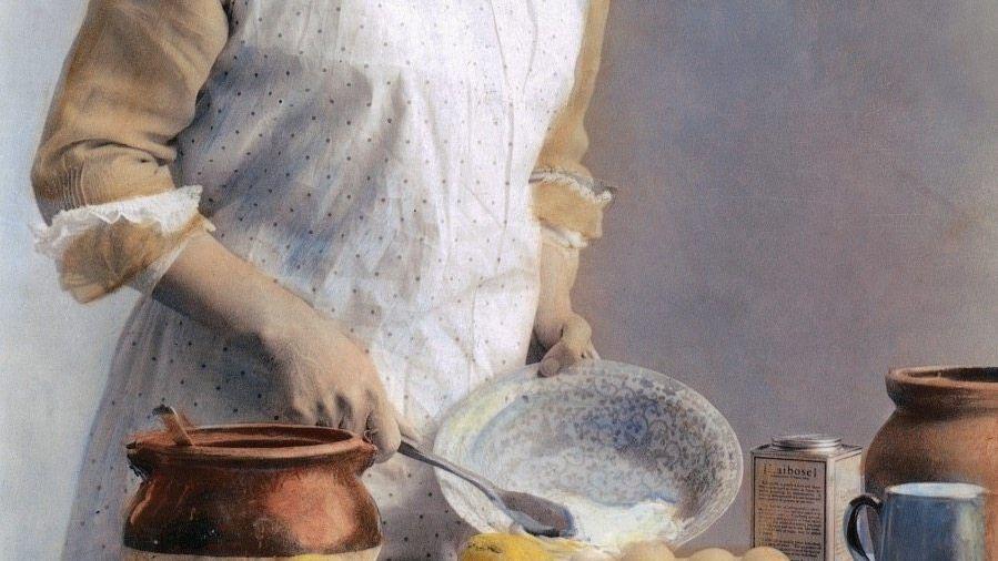 Eigener Herd ... Nach der Französischen Revolution entstand das Ideal der Kleinfamilie, in der die Frau den Haushalt organisierte, während der Mann arbeiten ging. Henriette Davidis wollte Mädchen mit ihren Büchern auf dieses Leben vorbereiten (koloriertes Foto einer Hausfrau, um 1900).