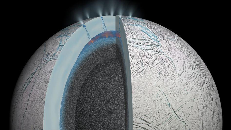 Die Schichten des Saturnmondes Encladus
