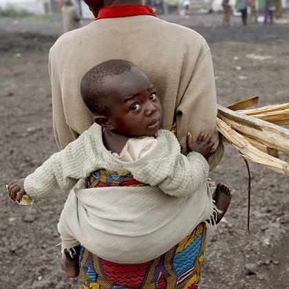 Kongolesische Mutter mit Kind: 250.000 Menschen sind auf der Flucht