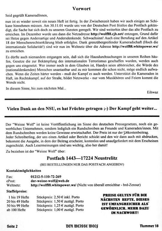 Rechtsextremismus/ Weisse Wolf/ NSU