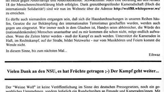 """Vorwort aus """"Der Weiße Wolf"""": Eine in Zwickau gefundene Datei könnte zum Editorial passen"""