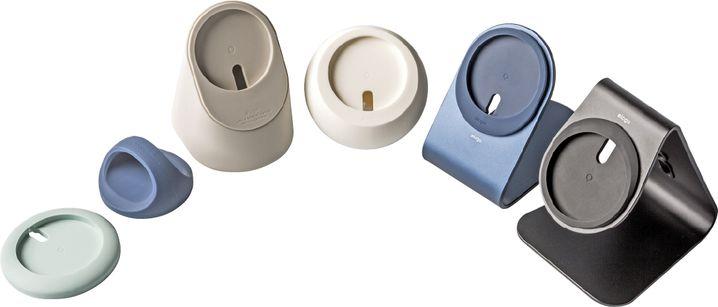 Von links nach rechts: Charging Pad, Grip Stand, Charging Stand MS1, MS2, MS3 und MS4 von Elago