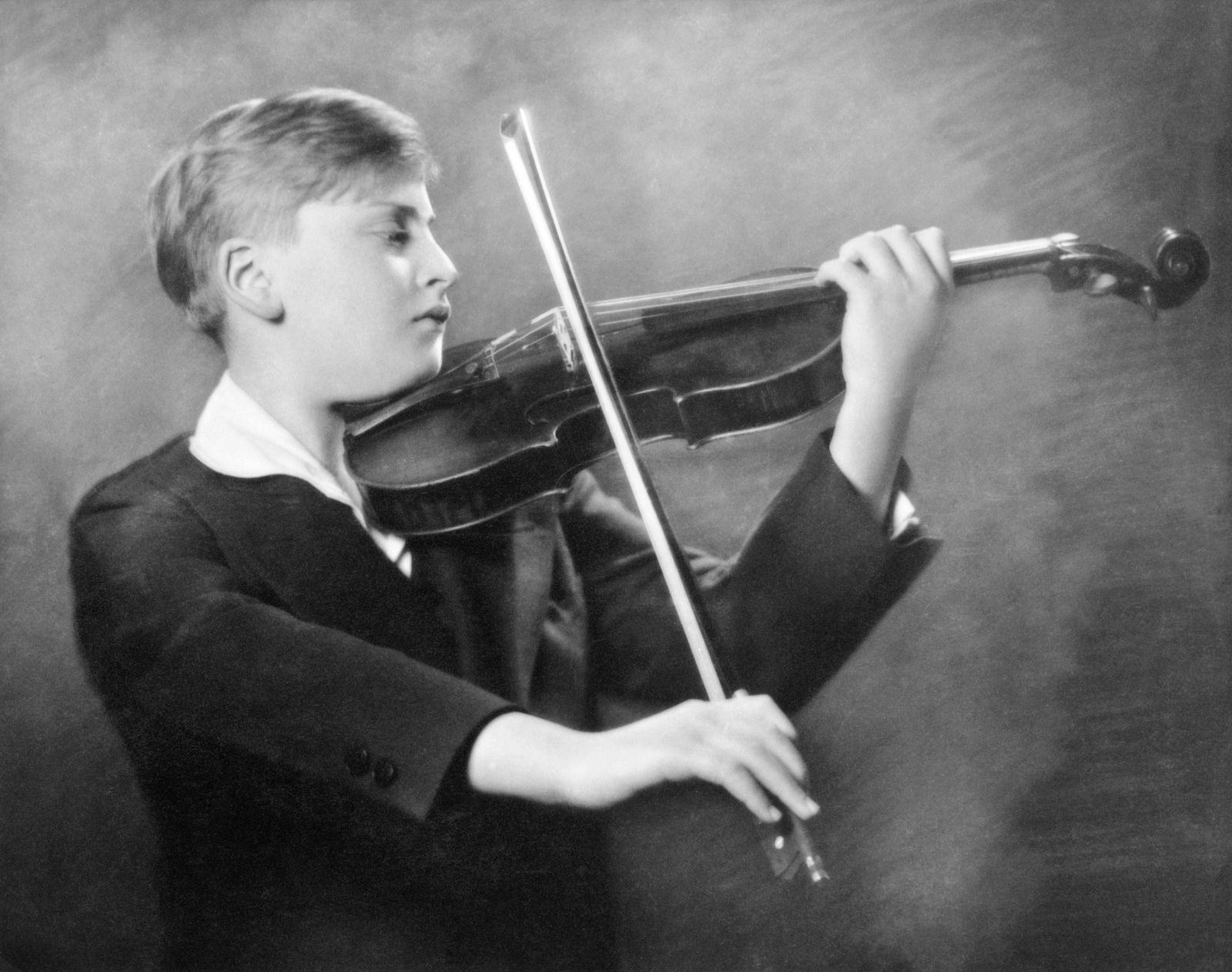 New York New York c 1931 A studio promotional photo of child prodigy violinist Yehudi Menuhin P
