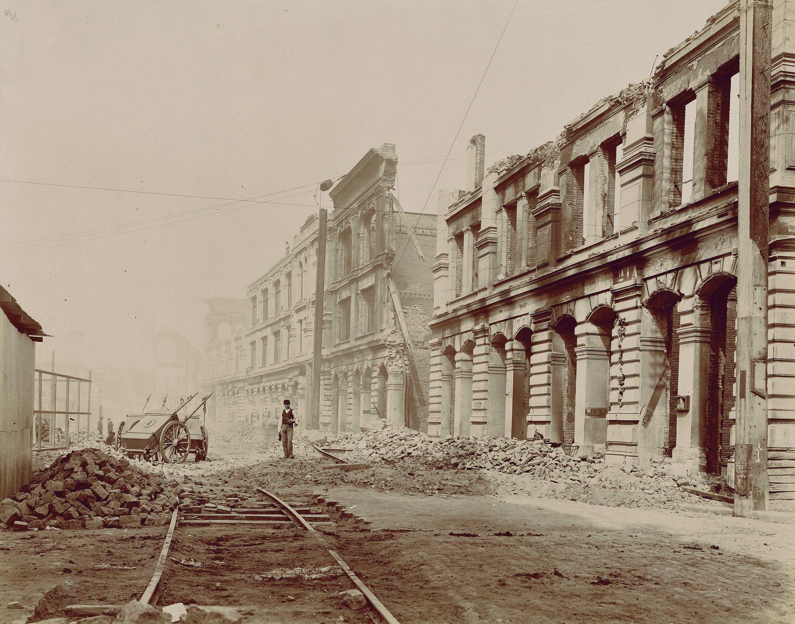 Historische Reisebilder - Via Blanco, Valparaiso, nach dem Erdbeben im August 1906