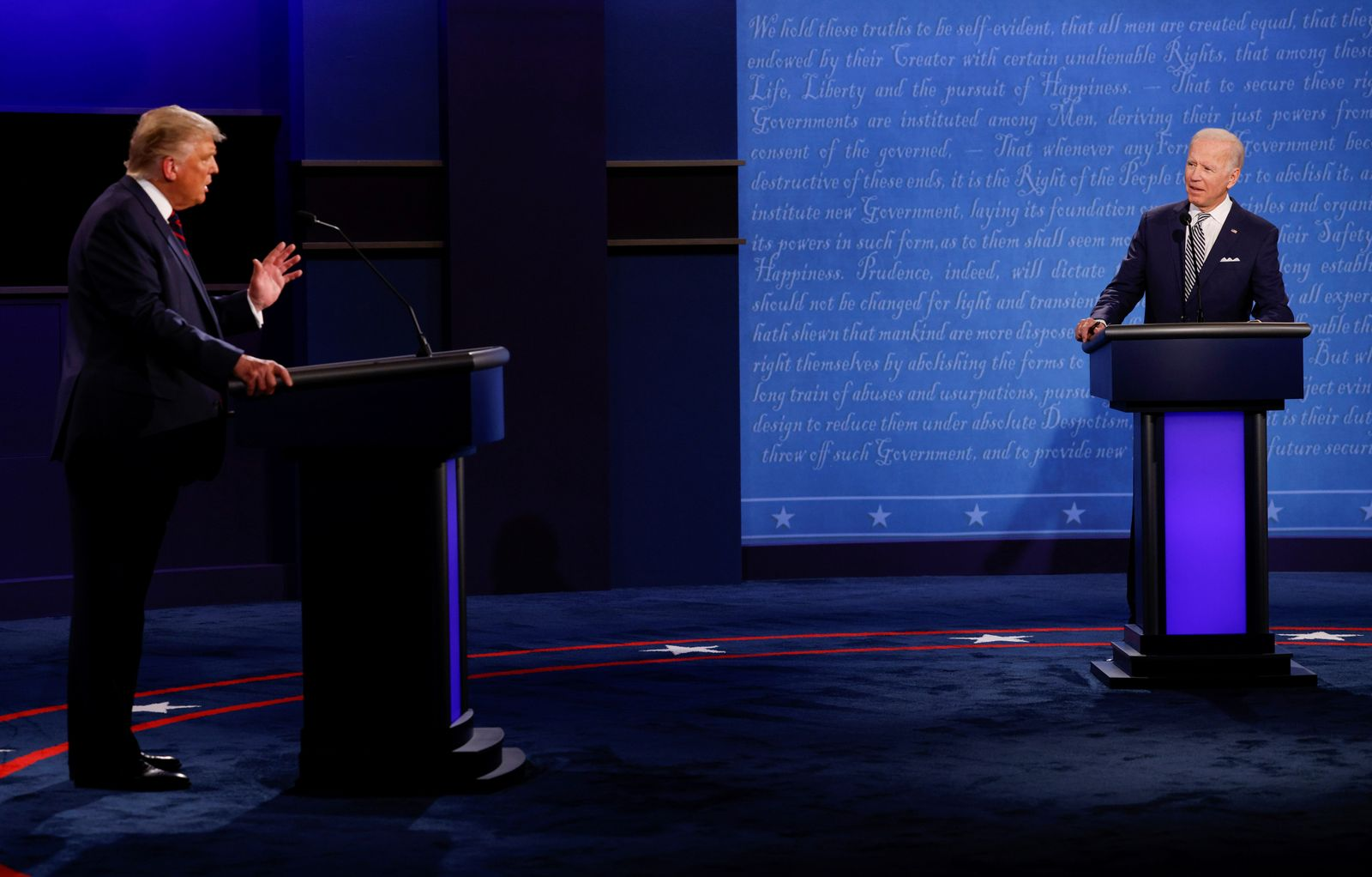 U.S. President Donald Trump and Democratic presidential nominee Joe Biden participate in their first 2020 presidential campaign debate in Cleveland