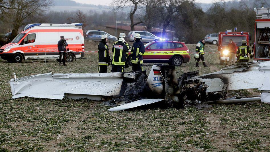 Unfallstelle auf einem Golfplatz bei Cölbe: Beide Insassen der Cessna sind gestorben
