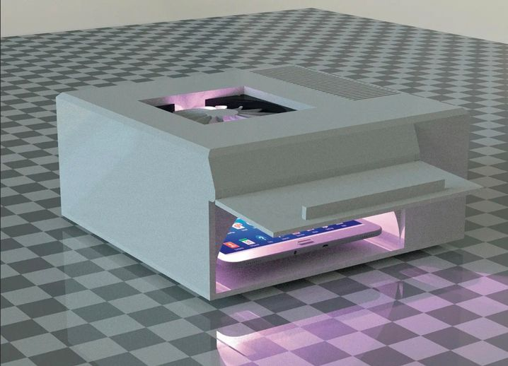 Im Prototyp eines von Forschern des Fraunhofer-Instituts entwickelten Desinfektionssystems für Mobiltelefone werden im Inneren UVC-LEDs (Leuchtdioden, die mit ultraviolettem Licht arbeiten) verwendet.