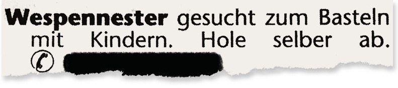 Kleinanzeige im »Niendorfer Wochenblatt« aus Hamburg
