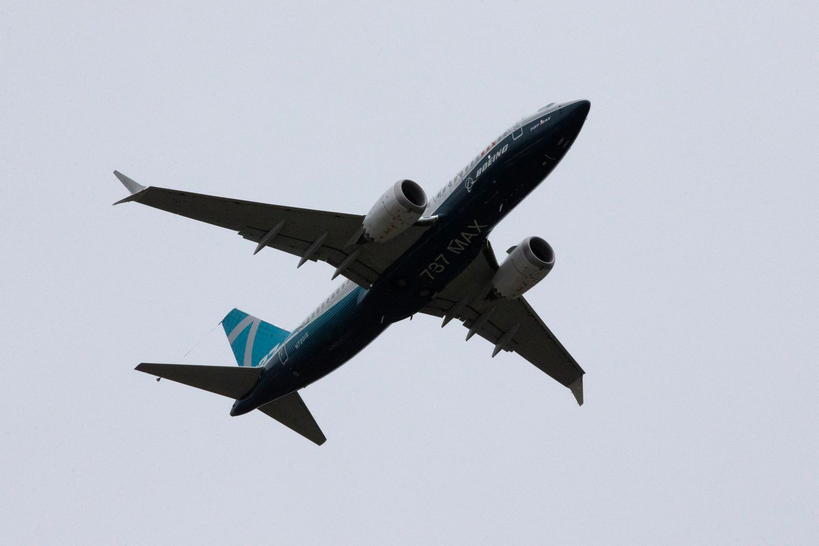 A Boeing 737 MAX airplane takes off on a test flight from Boeing Field in Seattle