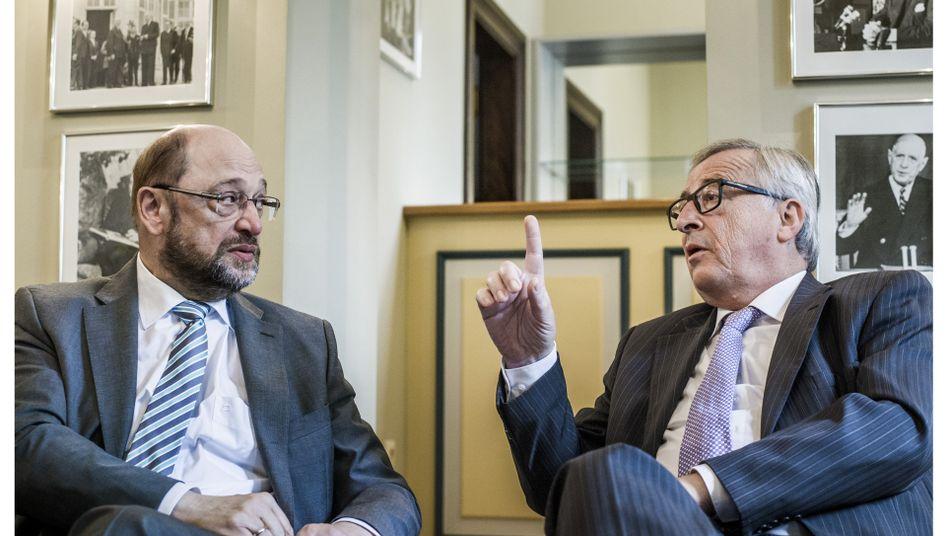 European Parliament President Martin Schulz and European Commission President Jean-Claude Juncker
