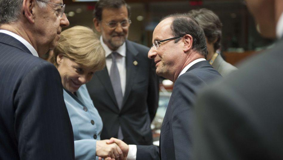 Monti, Merkel, Rajoy, Hollande: Werden sie die Kanzlerin überzeugen?