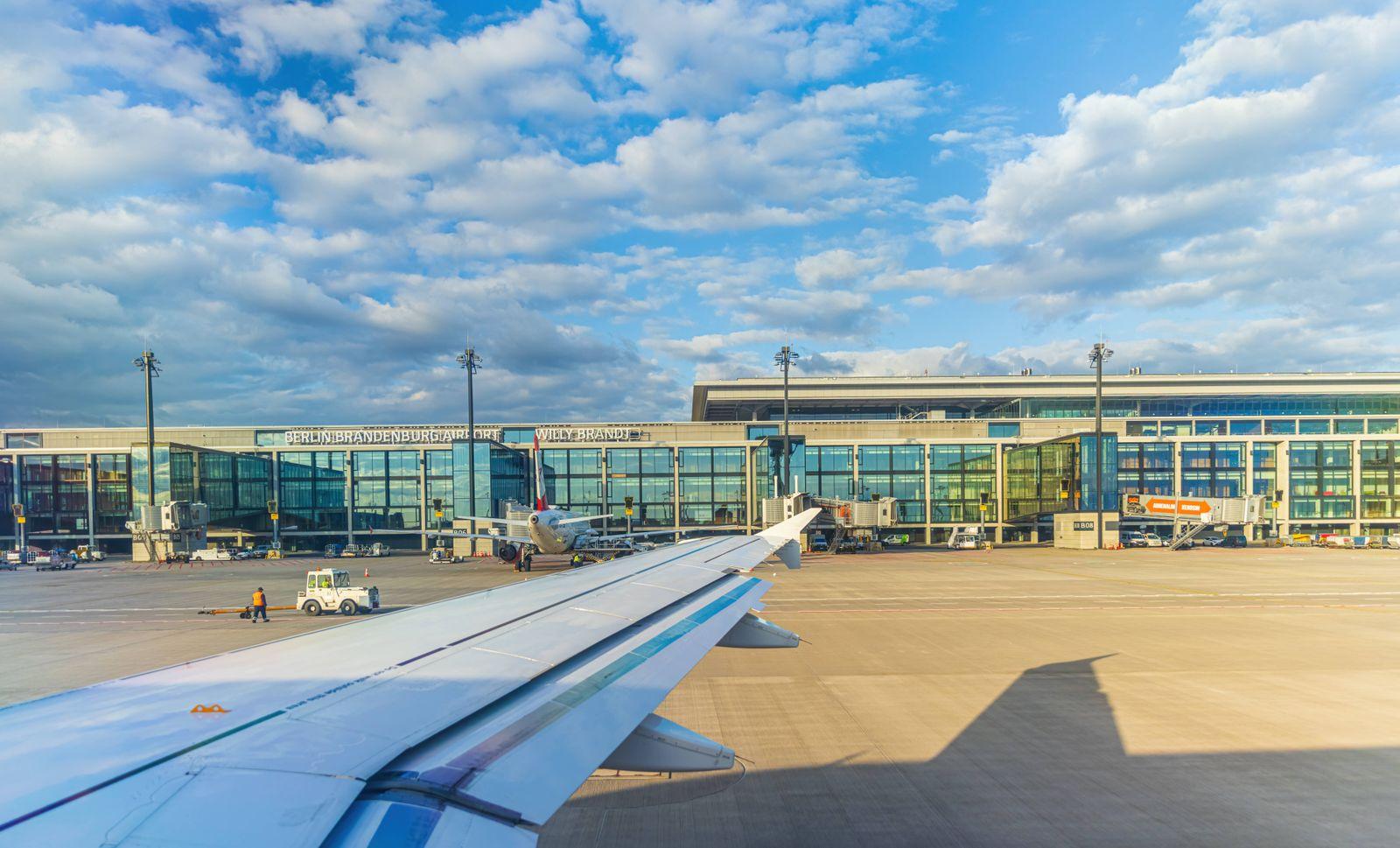 The new Airport Berlin Brandenburg Willy Brandt International Airport SCHOENEFELD, GERMANY - MAY 18, 2021: Exterior view