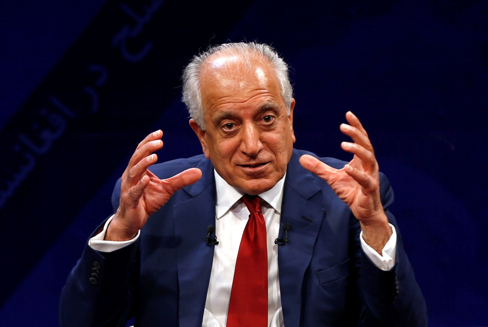 U.S. envoy for peace in Afghanistan Zalmay Khalilzad speaks during a debate at Tolo TV channel in Kabul