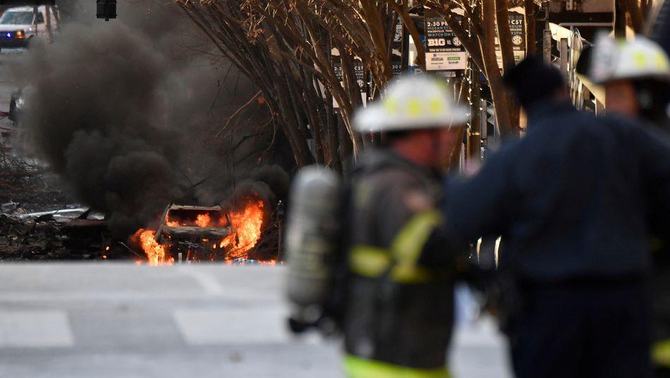 Brennendes Fahrzeug in Nashville: Die Explosion hat Gebäude im Umkreis schwer beschädigt