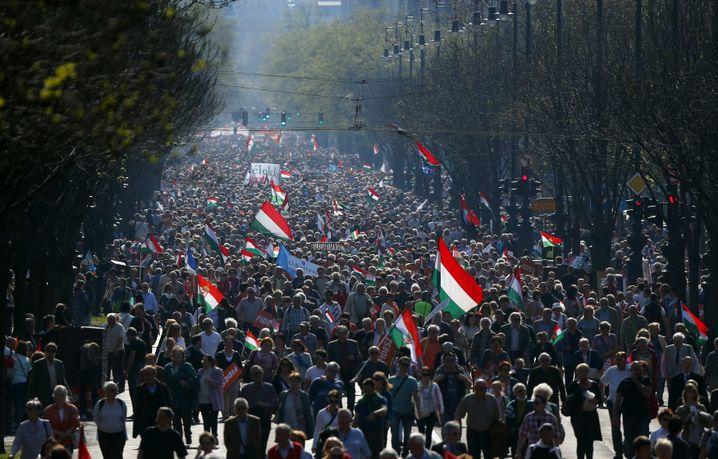Anhänger von Ungarns Ministerpräsident Viktor Orban in Budapest (Archivbild)