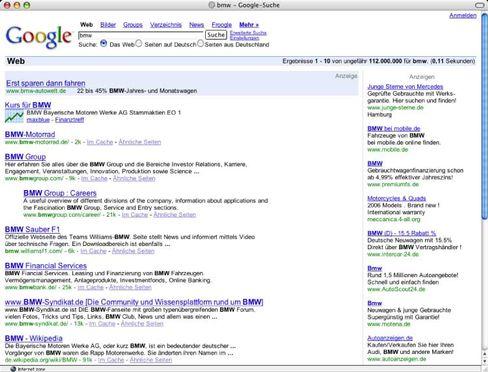 Google-Screenshot am Montag: Wer BMW sucht, bekommt auf dem First Screen diverse Links - aber nicht den zu BMW.de