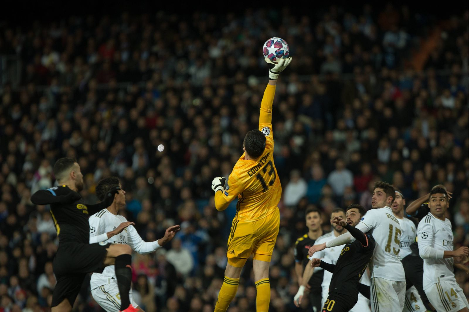 THIBAUT COURTOIS DURING MATCH REAL MADRID VERSUS MANCHESTER CITY, UEFA CHAMPIONS LEAGUE AT SANTIAGO BERNABEU STADIUM. 2