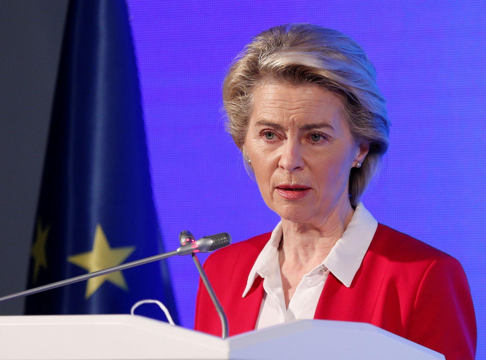 European Commission President von der Leyen speaks during a news conferencein Ankara