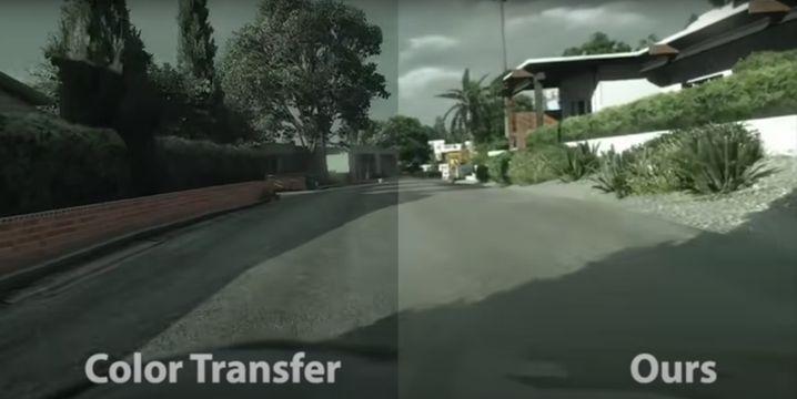 Auch wenn die Farbe an die deutsche Straßenstimmung der Trainingsbilder angepasst wird, wirken die Originalbilder (links) künstlicher als das gefilterte Video der Forscher.