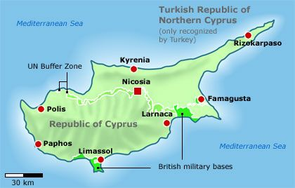 Cyprus has been divided since 1974.