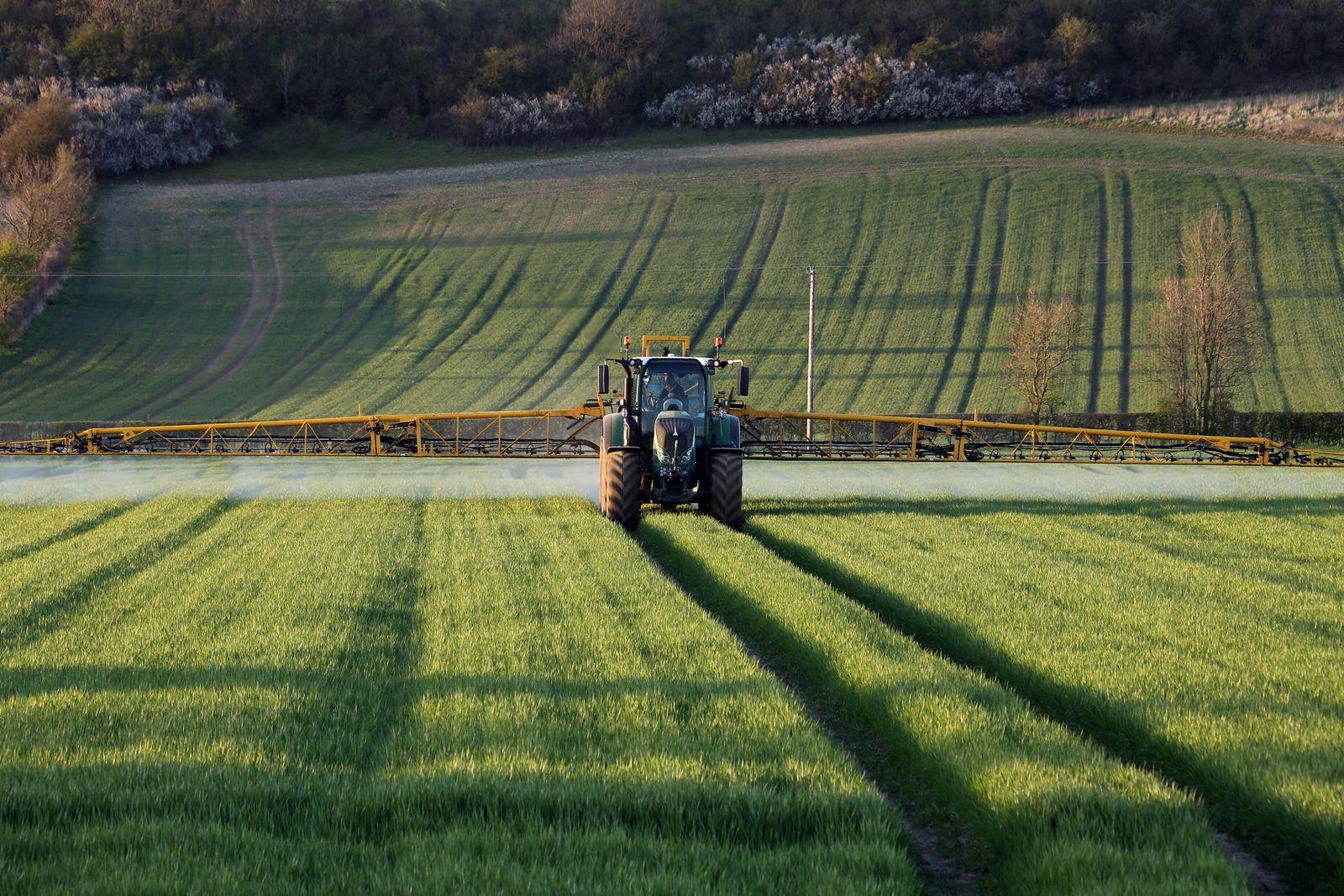 Agriculture - A farmer spraying fertilizer on his crops - North Yorkshire - England. (SteveAllen)